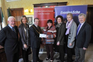 Friendly Call Cork and Cork City Partnership of funds raised by Lord Mayor's Christmas Concert were Barry Woods, Jacqui Sweeney, Lord Mayor of Cork Cllr. Chris O'Leary, Teresa Stokes, Brenda Barry, Marian Hodder and Seamus Hennessy. Pic Daragh Mc Sweeney/Provision