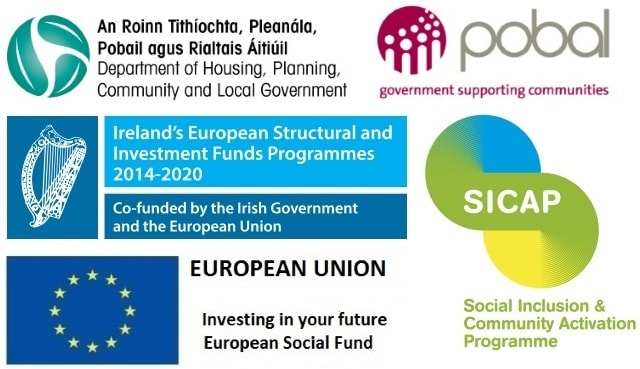 The Social Inclusion and Community Activation Programme (SICAP) 2015-2017 is funded by the Irish Government and co-funded by the European Social Fund and includes a special allocation under the Youth Employment Initiative.