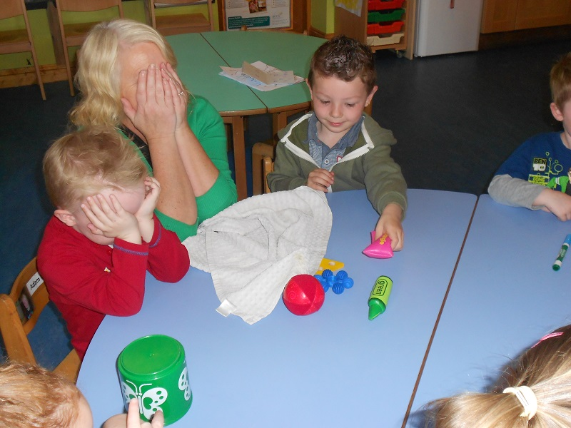 Children playing a memory game